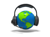 Globe earth with headphones and microphone. 3d blue globe earth with headphones and microphone Stock Images