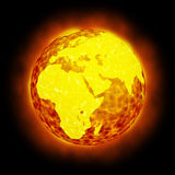 Globe Earth hot climate light halo flare. Isolated earth with burning light flares. Magma ocean. Global warming, nuclear disaster, hell or doomsday Stock Photography