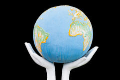 Globe ,earth in human hand Royalty Free Stock Image