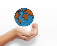 Globe ,earth in human hand Stock Photography