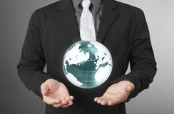 Globe ,earth in human hand Earth image provided by Nasa. Globe ,earth in human hand, hand holding our planet earth glowing. Earth image provided by Nasa Stock Photos