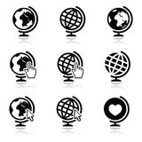 Globe earth  icons with cursor hand and arrow Royalty Free Stock Photo