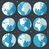 Globe earth icons. Flat style. Royalty Free Stock Photos
