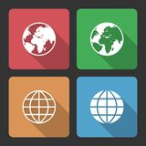 Globe Earth Icons with Long Shadow Stock Photography