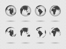 Free Globe Earth. Icons Of World Maps. Set Of 3d Globus With Europe, Asia, Africa, Usa, Australia And China. Gray Simple Planets On Stock Image - 204238231