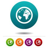 Globe Earth icons. Planet signs. World symbol. Vector Circle web buttons. royalty free illustration