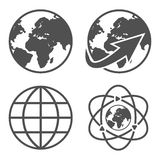 Globe earth icons set Stock Photography
