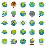 Globe Earth icons set, flat style. Globe Earth icons set. Flat illustration of 25 Globe Earth vector icons isolated on white background Royalty Free Stock Images