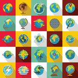 Globe Earth icons set, flat style. Globe Earth icons set. Flat illustration of 25 Globe Earth vector icons for web Stock Images