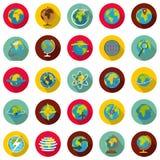 Globe Earth icons set, flat style. Globe Earth icons set. Flat illustration of 25 Globe Earth vector icons circle isolated on white Stock Photos