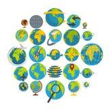 Globe Earth icons set, flat style. Globe Earth icons set. Flat illustration of 25 Globe Earth vector icons isolated on white background Stock Photos