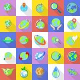 Globe Earth icons set, flat style. Globe Earth icons set. Flat illustration of 25 Globe Earth vector icons for web Royalty Free Stock Photos