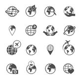 Globe earth icons set Stock Photos