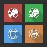 Globe earth icons set with Long Shadow Royalty Free Stock Images