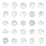 Globe Earth icons set, outline style. Globe Earth icons set. Outline illustration of 25 Globe Earth vector icons for web Royalty Free Stock Photos