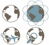 Globe earth icons set Stock Images