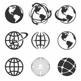 Globe Earth Icons Set. Vector Illustration. Globe Earth black Icons Set. Vector Illustration Stock Photography