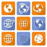 Globe Earth Icons Set. Vector Illustration. Globe Earth orange and blue Icons Set. Vector Illustration Stock Photo