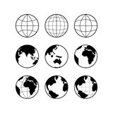 Globe Earth icons set, vector signs isolated on white Stock Image