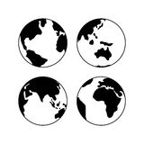 Globe Earth icons set, vector signs  on white Royalty Free Stock Images
