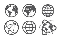 Globe earth icons set Royalty Free Stock Images