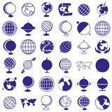 Globe, earth icons on white Stock Photography