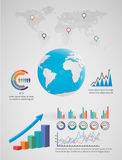Globe Earth infographic. Globe Earth,vector shadow smooth stock illustration