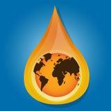Globe earth inside water, oil drop, liquid Royalty Free Stock Photo