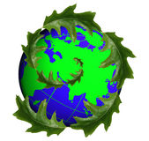 Globe earth and leaves Stock Images