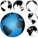 Globe Earth Maps Set. A set of 5 silhouette globes, views of the earth: Atlantic; Pacific; Americas; 2 Eastern Hemisphere stock illustration