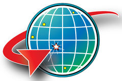 Globe Earth Market. Red arrow indicating a target location on a blue and green globe Stock Images