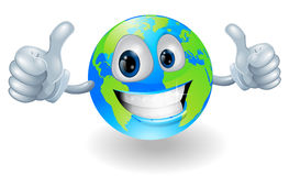 Globe earth mascot with thumbs up Royalty Free Stock Photography