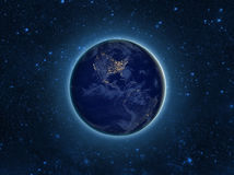 Globe Earth Model by night. Elements of image furnished by NASA. Royalty Free Stock Photos