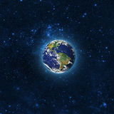 Globe Earth Model by night. Elements of image furnished by NASA. Stock Images