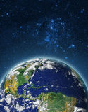 Globe Earth Model by night. Elements of image furnished by NASA. Royalty Free Stock Photo