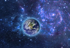 Globe Earth Model in space. Elements of image furnished by NASA. Stock Image