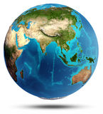 Globe Earth real relief and water Stock Images