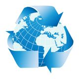 Globe of the Earth with recycle symbol. Fully editable vector illustration Royalty Free Stock Image