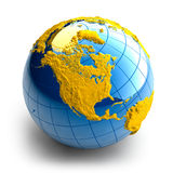 Globe of the Earth with relief. Continents on white background stock illustration