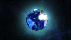 Globe earth rotating in space stock video footage