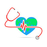 Globe Earth with stethoscope and Heartbeat sign. Vector Illustration Stock Photo