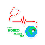 Globe Earth with stethoscope and Heartbeat sign. Vector Illustration Royalty Free Stock Image