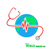 Globe Earth with stethoscope and Heartbeat sign. Vector Illustration Royalty Free Stock Photography