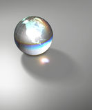 Globe Earth transparent glass planet. Isolated crystal sphere with global country map and geographic coordinates (latitude and longitude Stock Image