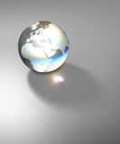 Globe Earth transparent glass planet. Isolated crystal sphere with global country map and geographic coordinates (latitude and longitude Stock Photography