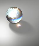 Globe Earth transparent glass planet. Isolated crystal sphere with global country map and geographic coordinates (latitude and longitude Royalty Free Stock Photos