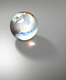 Globe Earth transparent glass planet. Isolated crystal sphere with global country map and geographic coordinates (latitude and longitude Royalty Free Stock Image