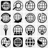 Globe earth vector icon set on gray Royalty Free Stock Images
