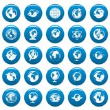 Globe Earth vector icons set blue, simple style. Globe Earth icons set blue. Simple illustration of 25 Globe Earth vector icons for web Stock Photos