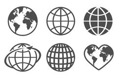 Globe earth vector icons set, on a white background royalty free illustration